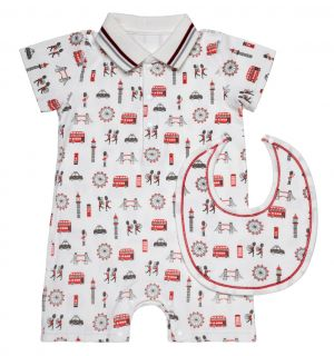 "PACK OF 5 Aurora ""Red Bus"" Pima Cotton Romper&Bib. Sizes:0-3M,3-6M,6-9M,9-12M,12-18M"