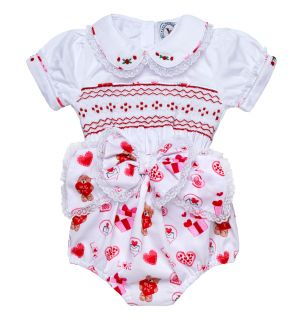 """PACK OF 3 """"I LUV Teddy"""" Hand Smocked Buster Suit. SIZES: N/B,3M,6M"""