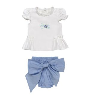 "PACK OF 3 Aurora Royal "" Evita "" Baby Girls Blue Shorts & White Tunic Set."