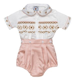 "PACK OF 6 ""Alex"" Silk/Satin Hand-Smocked Buster Suit. Sizes:N/B,3M,6M,9M,12M,24M"