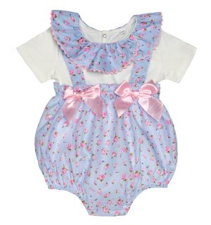 "Aurora Royal ""Leslye"" Blue Floral Dungaree & Blouse 2Pcs Set"