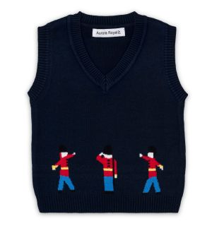 "PACK OF 4 ""TOY SOLDIERS"" Navy Blue Slipover Vest"
