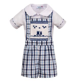"Aurora Royal ""Peter"" Shirt & Dungarees Hand-Smocked Outfit."
