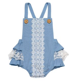 "PACK OF 6 Blue ""Lizzy"" Cotton/Linen Shortie. Sizes: 0-3m,3-6m,6-12m,12-18m,2y,3y"