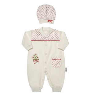"""Muslin """" Pink Daisy """" Jumpsuit & Hat Outfit. 0-3 Months"""