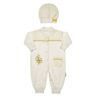 """Muslin  """" Yellow Daisy """" Jumpsuit  & Hat Outfit. 0-3 Months"""