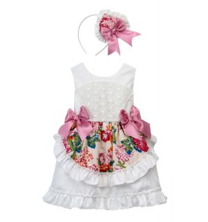 "White & Floral Gorgeous ""Marietta"" Lace Dress & Matching Headband Set"