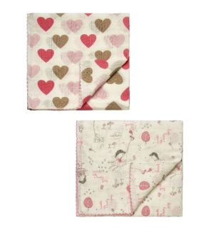 """Pack Of 2 """" Fairy & Heart """"  Supersoft & Absorbent Swaddle Blankets"""