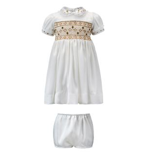 """Genevieve"" Ivory Silk/Satin Hand Smocked Dress Set"