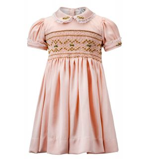 """FELICIA"" Pink Silk/Satin Hand-Embroidered Luxury Dress"