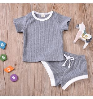 "PACK OF 4 ""David"" Baby Boy Grey Ribbed 2Ps Set. SIZES: 0-3M,3-6M,6-12M,12-18M"