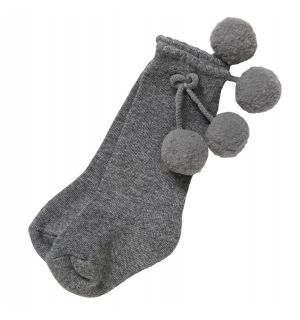 Aurora Royal Light Grey  Pom-Pom  Cotton Socks