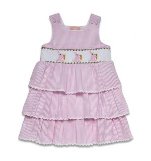 "PACK OF 4 ""Cotton Tail"" Pink Seersucker  Smocked Pinafore Dress"