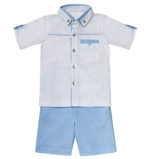 "Aurora Royal ""Moody Blues"" Linen Blue Shorts and Shirt Set"