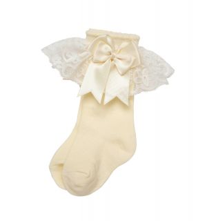 Aurora Royal Cream Knee Length Lace & Bow Socks