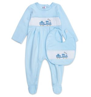 "Aurora Royal ""Thomas"" Smocked Babygrow & Bib Set"