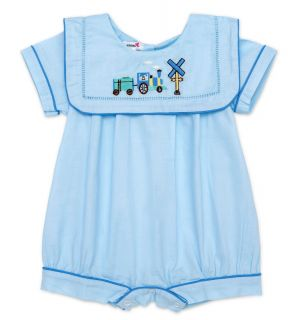 """PACK OF 3 """"Chugga Train"""" Blue Cotton Embroidered Shortie"""
