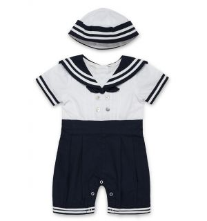 PACK OF 3 White & Navy Traditional Sailor 2Pcs Outfit