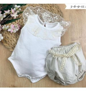 "PACK OF 4 ""Belle"" Lace Bodysuit & Bloomers"