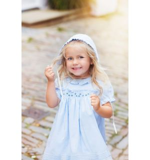 "PACK OF 5 ""Greta"" Blue Hand Smocked Dress & Bonnet"