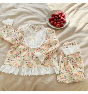"Aurora Royal  ""SABRINA' Girls Cotton/Poplin Floral Pyjama"