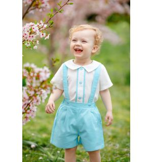 "Aurora Royal ""Ernest"" 2 Piece Aqua Blue Linen Shorts Set"