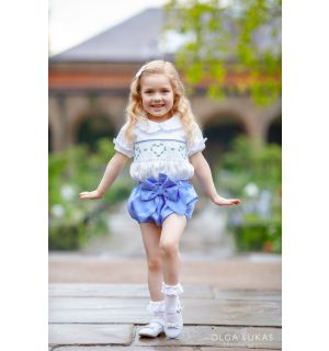 """PACK OF 5  """" CARYS """" Baby Girls  2 Piece Hand-Smocked Set"""