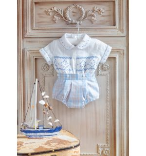 """PACK OF 5 """"ANDREW"""" Cotton/Linen Hand-Smocked Outfit"""
