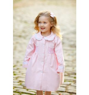 """""""MINI-MADAME"""" Traditional Hand-Smocked Trench Coat"""