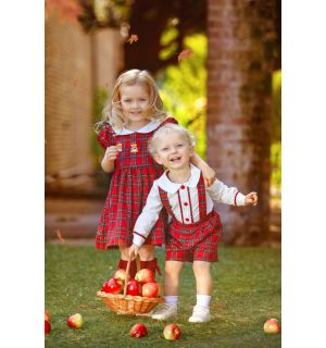 """Aurora Royal """"Blessing"""" Red Tartan Embroidered Dress"""