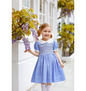 """PACK OF 5 """"CATHERINE"""" Blue Silk/Satin Hand-Smocked Dress & Bow"""
