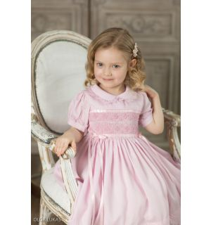 "Aurora Royal  ""Marquise"" Hand-Smocked Pink Dress"