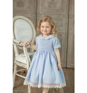 "Aurora Royal ""Francia"" Blue Hand-Smocked Dress."