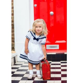 PACK OF 3 White & Navy Traditional Sailor Dress