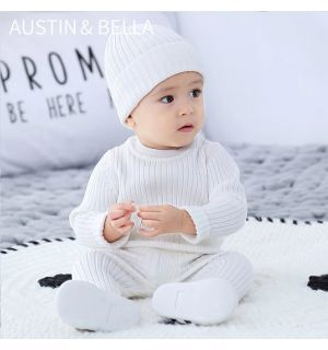 B&E Baby Boys White Knitted 3Pcs Trousers Set