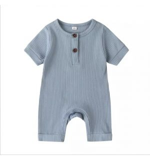 "PACK OF 5 Blue ""Arman"" Baby Ribbed Cotton Playsuit."
