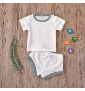 "PACK OF 4 ""David"" Baby Boy White Ribbed 2Ps Set. SIZES: 0-3M,3-6M,6-12M,12-18M"