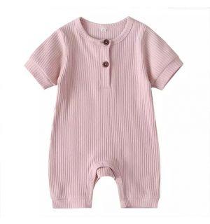 """PACK OF 5 Pink """"Arman"""" Baby Ribbed Cotton Playsuit."""