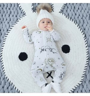 "PACK OF 4 ""Versailles"" Organic Cotton Babygrow: SIZES: 3-6M,6-9M,9-12M,12-18M"