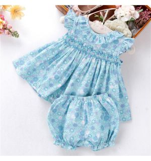 "PACK OF 3 Aurora Royal  Baby Girls ""Bluebell""Hand Smocked Set. SIZES: 12m,2y,3y"