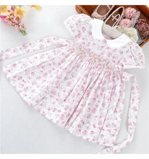"Aurora Royal ""Florence"" Roses Print Handsmocked Dress"