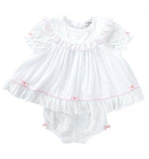"Aurora Royal ""Marbella"" White Broderie Anglaise Dress Set."