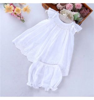 """""""Angelina"""" White Broderie Hand-Smocked Outfit"""
