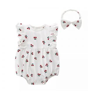 """SUMMER"" Cotton/jersey Romper & Headband Set"