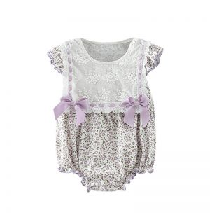 "PACK OF 5 ""LILIANNE' Lace & Bow Floral Babysuit"