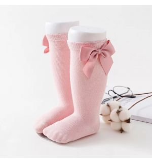 PACK OF 3 Girls Knee Length Dusky Pink  Bow Cotton Socks