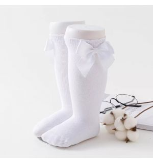 PACK OF 3 Girls Knee Length White Bow Cotton Socks