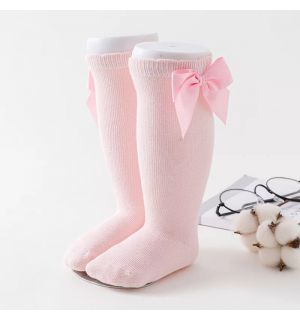 PACK OF 3 Girls Knee Length Pink  Bow Cotton Socks
