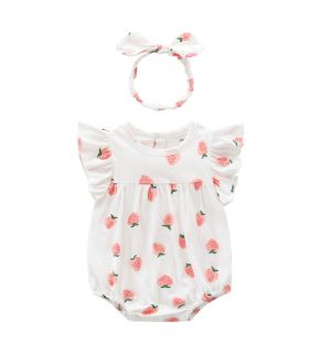 "PACK OF 4 ""STRAWBERRY"" Ivory Romper  & Headband Set"