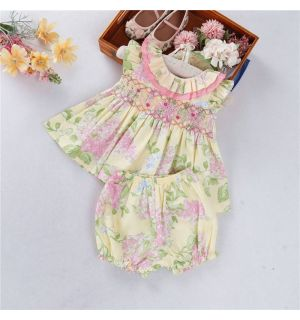 "PACK OF 5 ""SUNNY"" Hand-Smocked Set. SIZES: 6M,9M,12M,24M,3Y"